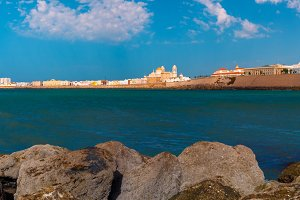 Beach and Cathedral in Cadiz, Andalusia, Spain