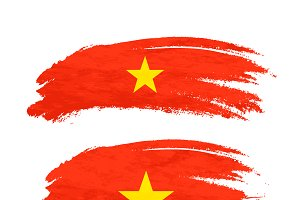 Brush stroke with Vietnam flag