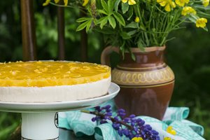 Fruit cake with peach, jelly and mousse