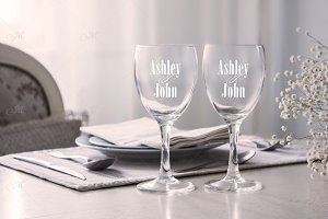 Wine glasses, mockup stock photo