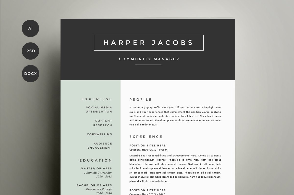 resume Cool Resume Templates two page resume photos graphics fonts themes templates template 4 pack