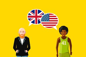 Great britain and USA speech bubbles