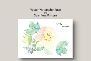 Vector watercolor rose