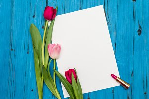 tulips on a white wooden board