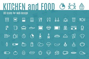 "80 icons ""KITCHEN and FOOD""+pattern"
