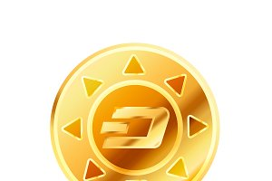Golden coin with dashcoin sign