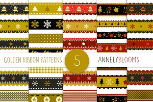 Golden Christmas Ribbon patterns
