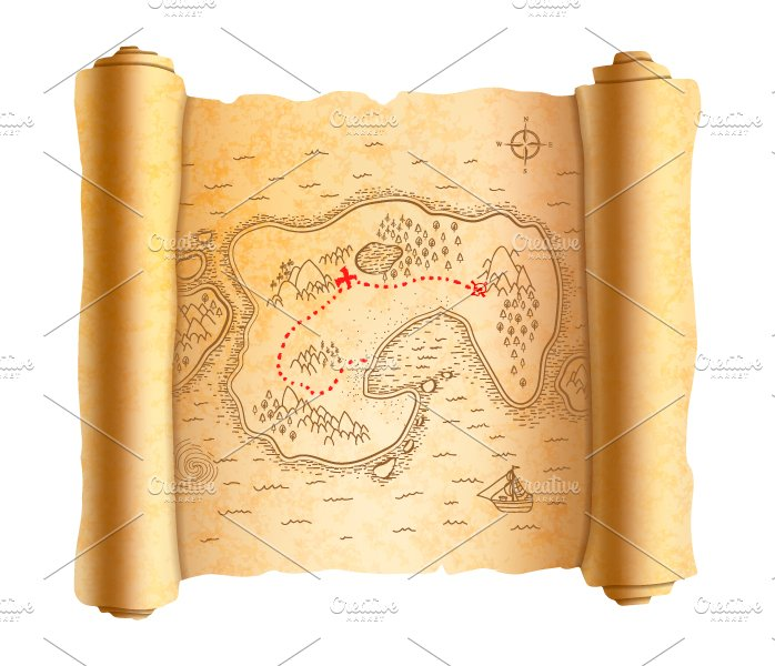 Realistic Ancient Pirate Map Graphic Objects Creative Market