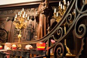 Prayer candle in a church