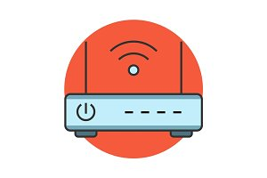 Wireless router flat line icon