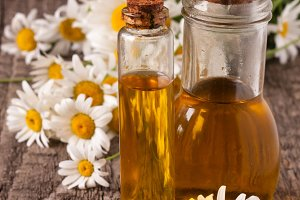 bottle with essential oil and fresh chamomile flowers on a old wooden background