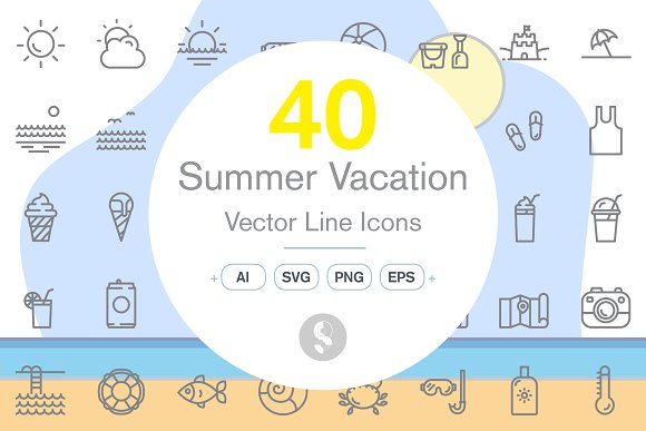 40 Summer Vacation Icons