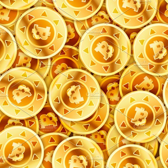 Golden Coins With Bitcoin Sign