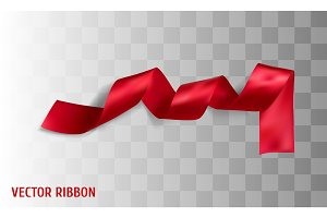 Red realistic silk vector ribbon