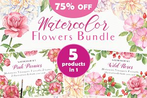 75% OFF Watercolor Flowers Bundle