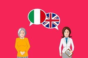 Britain and Italy speech bubbles