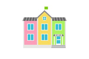 Daycare colorful building flat icon