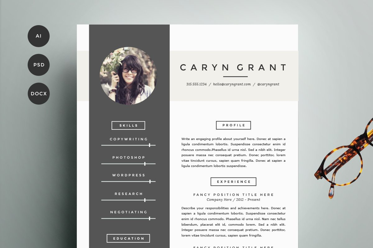 resume template 4 pack cv template resume templates creative market - Professional Resume Template Free Download