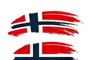 Brush stroke with Norway flag