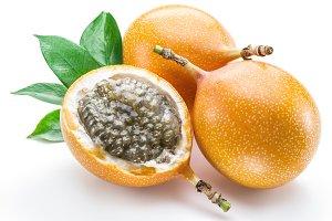 Granadilla fruits on the white