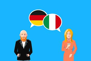 Germany and Italy speech bubbles