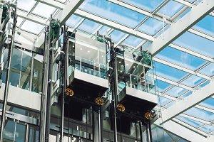 Modern elevator glass cabins