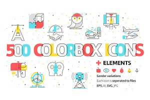 Color box icons bundle