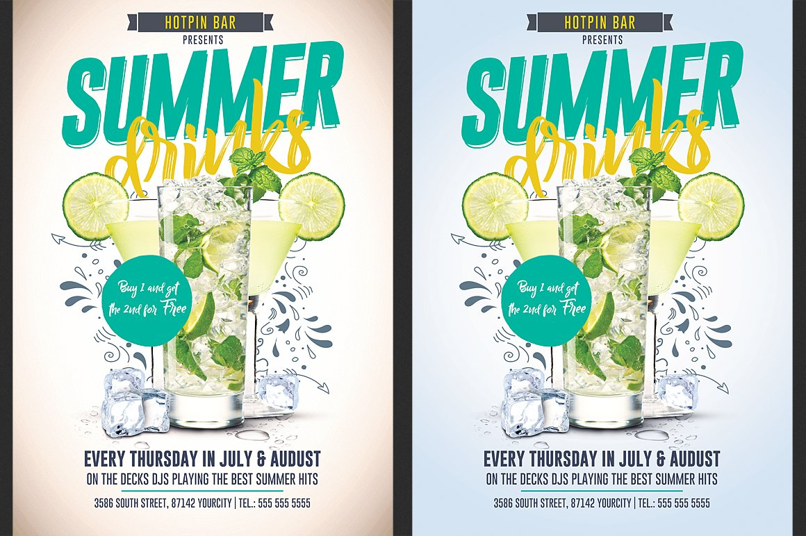 262f0678d99 Summer Drinks Promotion Flyer ~ Flyer Templates ~ Creative Market
