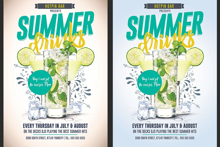 Summer Drinks Promotion Flyer