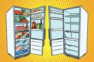 Two refrigerators. One with food and the other empty