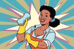 The cleaner with a sponge. African American people