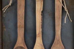 Wooden Utensils With Twine