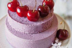 Frozen blueberry mousse cake