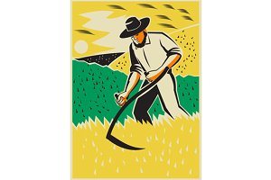 Farmer With Scythe Harvesting  Field