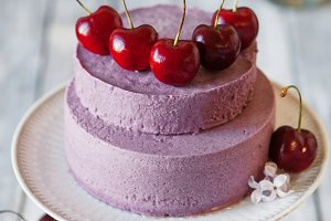 Blueberry mousse cake with cherry