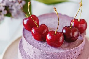 Mousse cake with cherries