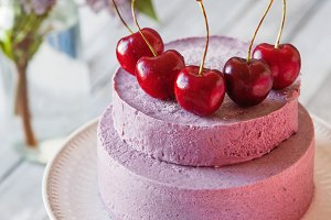 Mousse with cherries