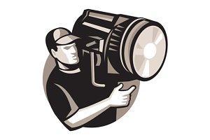film crew with spotlight fresnel lig