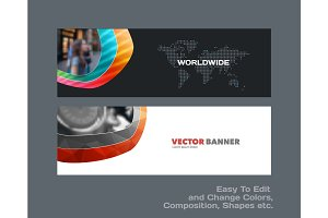 Abstract vector set of modern horizontal website banners with co