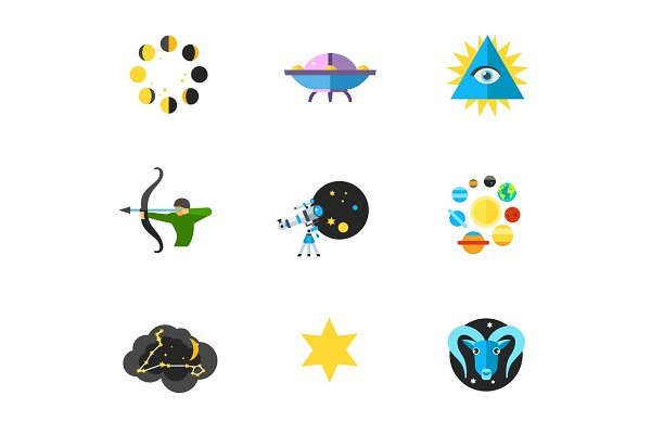 Astrology and Astronomy icon set