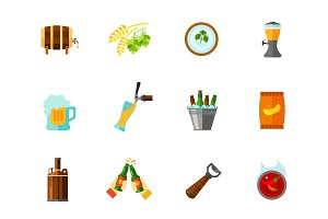 Beer pub icon set