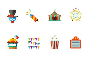 Carnival and cinema icon set
