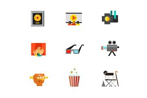 Cinematograph icon set