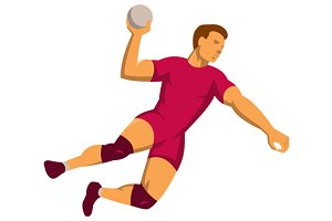 handball player jumping retro