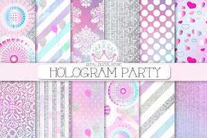 PARTY hologram/watercolor background