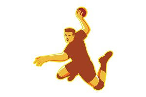 handball player jumping striking ret