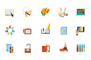 Drawing and library icon set