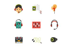 Earphones icon set