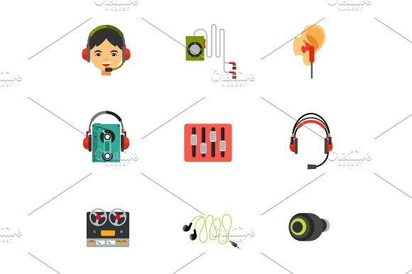 Earphones Icon Set
