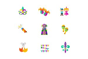 Fat Tuesday celebration icon set